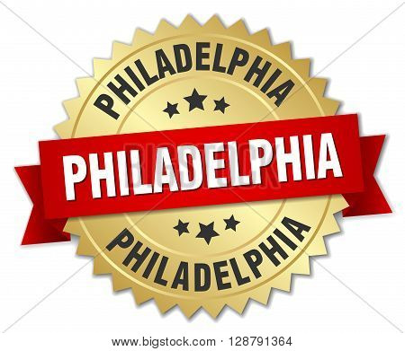 Philadelphia round golden badge with red ribbon