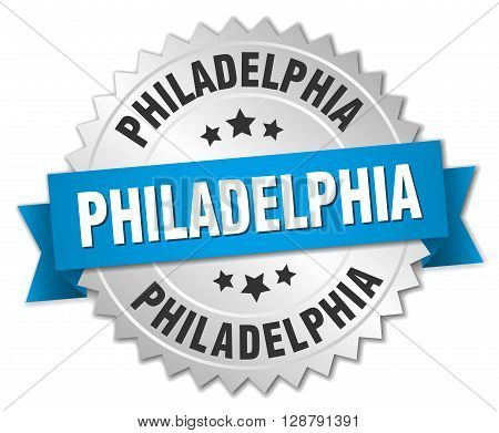 Philadelphia round silver badge with blue ribbon