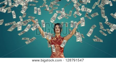 Asian Woman Catching Money Falling From the Sky in US Dollars 3D Illustration Render