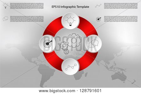 Modern rounded infographic. Circular timeline infographics. Modern rounded infographic with outline icons. Four steps infographic and world map background. World map background with modern four steps infographic.