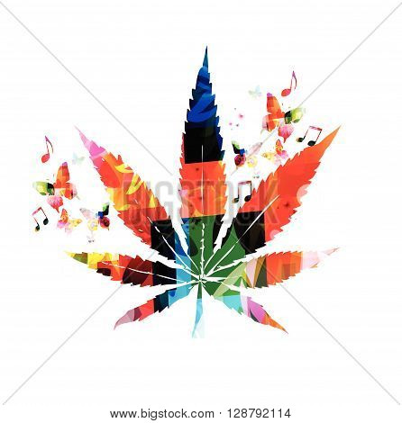 Vector illustration of colorful marijuana with butterflies