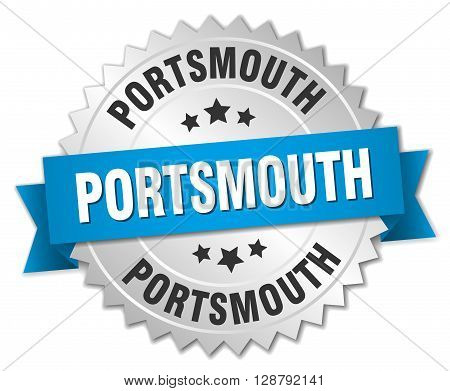 Portsmouth round silver badge with blue ribbon