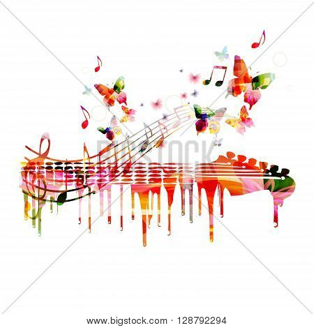 Vector illustration of colorful guitar with butterflies