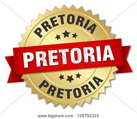 Pretoria round golden badge with red ribbon