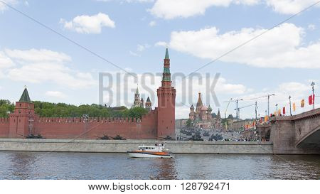Moscow - May 7 2016: Military equipment in dizhenii during the final rehearsal of the Victory Day parade on Red Square near the Kremlin May 7 2016 Moscow Russia