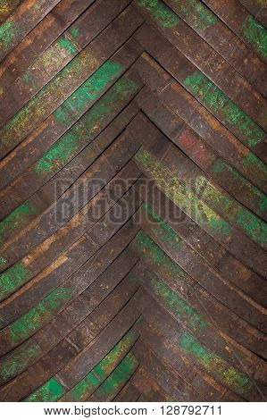 Background from billets of iron hoops for wooden barrels