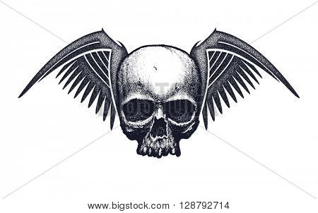 Skull with wings. Element for your design. Jpeg version