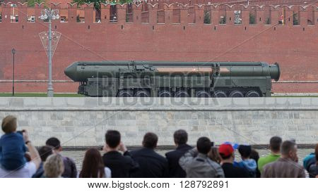 Moscow - May 7 2016: Military equipment at the dress rehearsal of the Victory parade and people watching May 7 2016 Moscow Russia