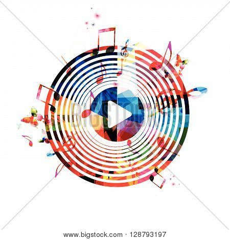 Colorful background with music notes. Vector illustration