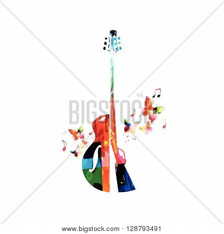 Vector illustration of colorful guitar and riffle with butterflies