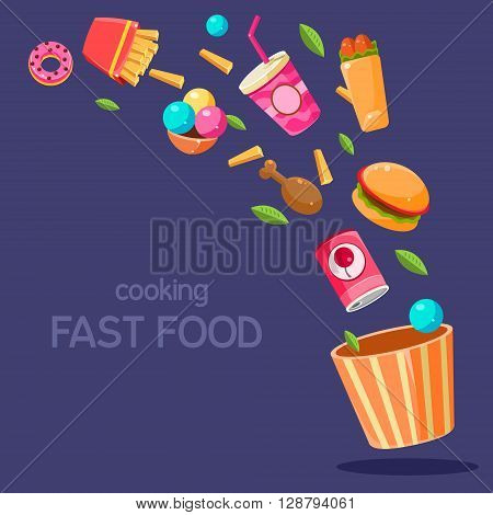 Fast Food Flying In Paper Bucket Flat Bright Colors Simple Style Vector Illustration On Dark Blue Background