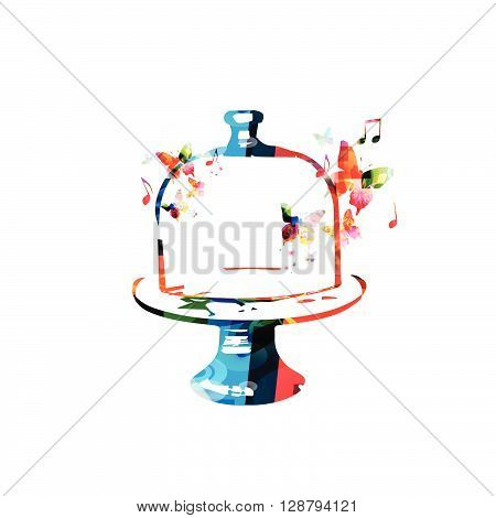 Vector illustration of colorful glass cake tray