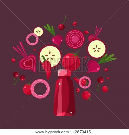 Ingredients For Red Smoothie  Flat Bright Colors Simple Style Vector Illustration On Burgundy Background
