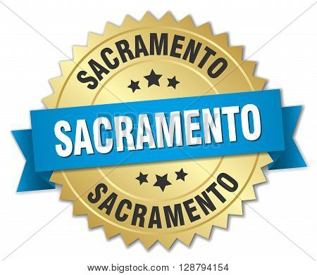 Sacramento round golden badge with blue ribbon