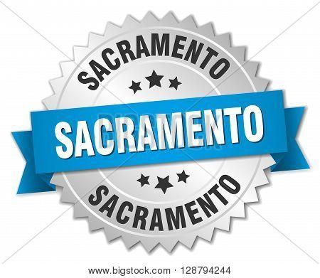 Sacramento round silver badge with blue ribbon