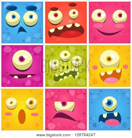 Monster Faces Collection Of Cute Cartoon Funny Images In Bright Color Childish Vector Design