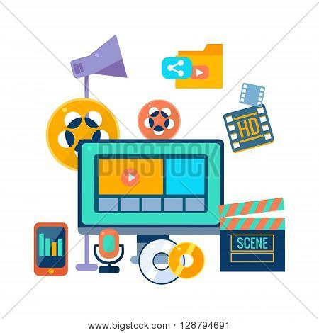 Film Production Icons Set Flat Colorful Vector Drawing On White Background