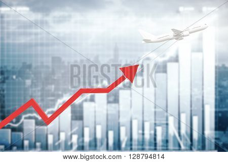 Airplane dragging red chart arrow on business graph background