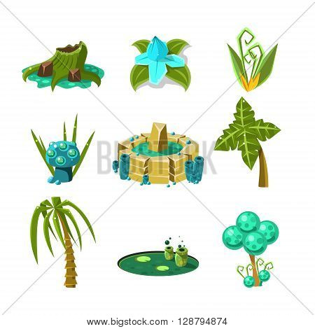 Landscape Elements Set Of Flat Vector Cute Isolated Icons For The Flash Game Design On White Background