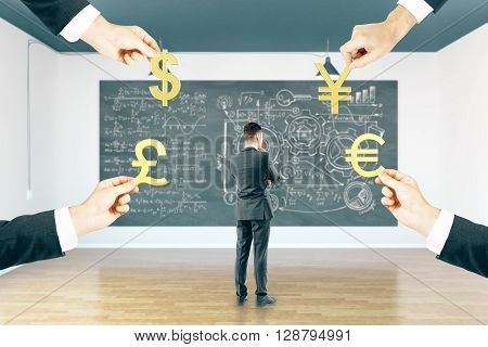 Thoughtful businessman in interior with business sketch and formulas on chalkboard and four hands holding pound euro dollar and yuan signs. 3D Rendering