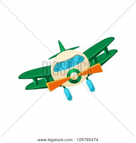 Biplane Toy Aircraft Glossy Vector Drawing In Childish Fun Style Isolated On White Background
