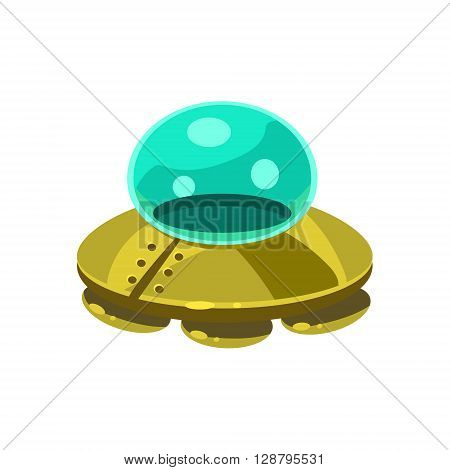 UFO Toy Aircraft Glossy Vector Drawing In Childish Fun Style Isolated On White Background