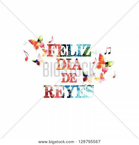 Vector illustration of colorful Happy Three King's Day inscription