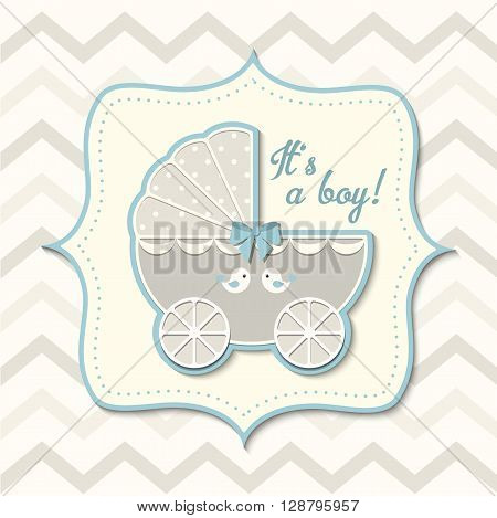 gray and bkue vintage stroller on abstract chevron background in srapbooking style, baby shower, vector illustration, eps 10 with transparency