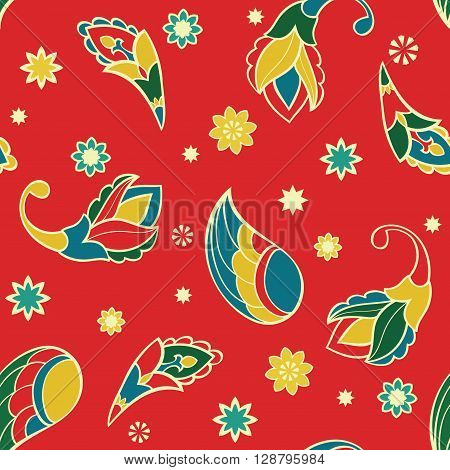 Ornament with stylized cartoon elements. Vector seamless pattern with paisley wings stars and flowers. Template for textile linen carpet wrapping wallpaper.