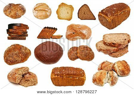 Assortment of different types of bread isolated on white background done in studio. A selection of freshly baked bread isolated on a white background. Bread collection on a white background