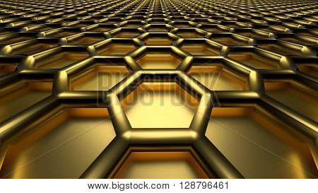 3D golden color abstract cellular lattice background