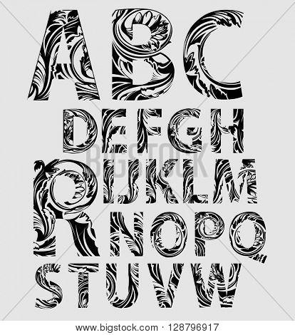 Creative floral alphabet font