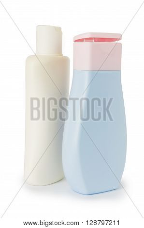 Two plastic bottles for body care isolated on white