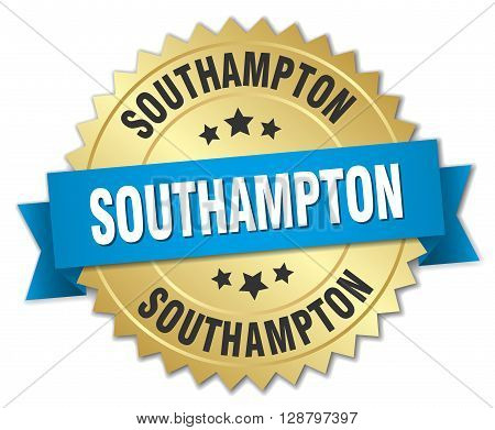 Southampton round golden badge with blue ribbon
