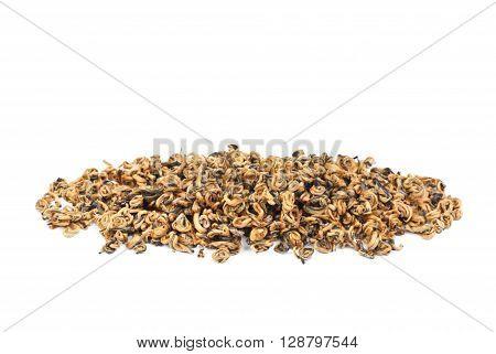 Green tea leaves braided in balls/ Braided yunnan black tea/ tea leaves on white background