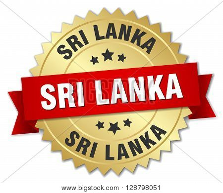 Sri Lanka round golden badge with red ribbon