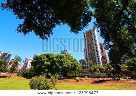 The Plaza Barrancas de Belgrano in Buenos Aires Argentina.