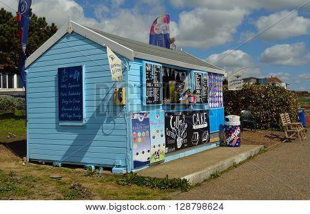 Felixstowe, Suffolk, England - May 03, 2016: Seafront Refreshment Kiosk on Promenade Felixstowe Suffolk England.