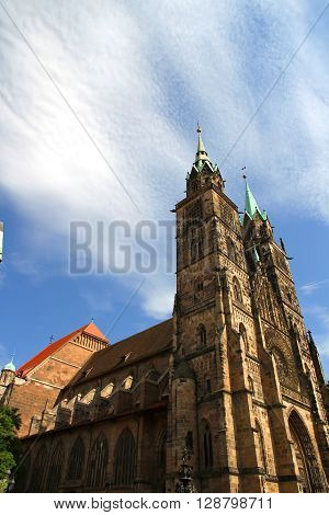 The Cathedral of Saint Lorenz in Nuremberg Germany.