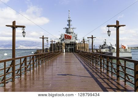 IZMIR, TURKEY - FEBRUARY, 21, 2016: Entrance of Ege and Piri Reis Museum Ships is a naval museum in the Inciralti neighborhood of Izmir's Balcova district in Turkey