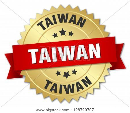 Taiwan round golden badge with red ribbon