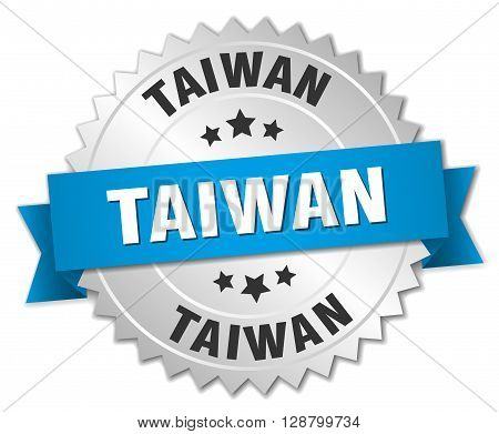 Taiwan round silver badge with blue ribbon