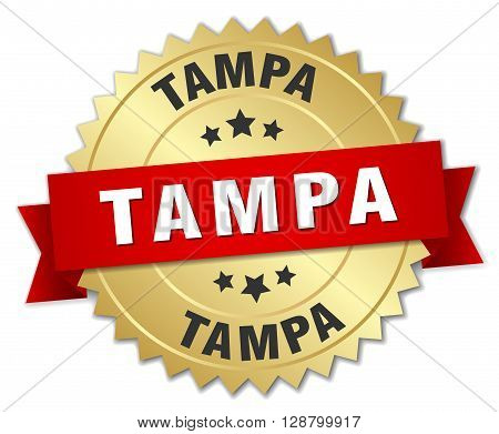 Tampa round golden badge with red ribbon