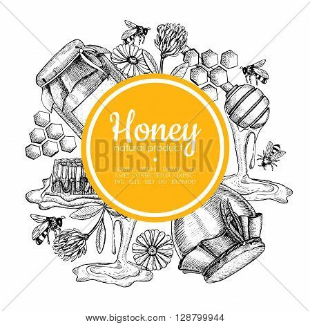 Vector hand drawn honey frame. Detailed yellow engraved honey illustrations. Graphic honey honeycomb bee glass jar flowers pot.