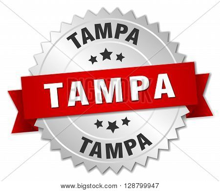 Tampa round silver badge with red ribbon
