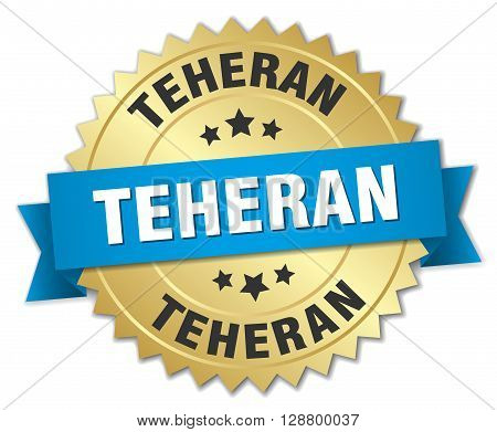 Teheran round golden badge with blue ribbon