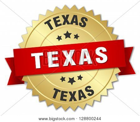 Texas round golden badge with red ribbon
