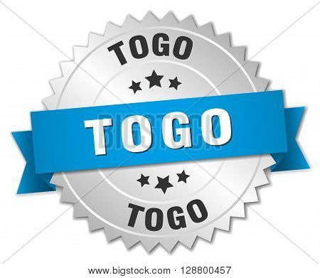 Togo round silver badge with blue ribbon