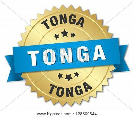 Tonga round golden badge with blue ribbon