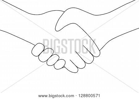 handshake between two people entering into the transaction icon flat design on a white background. vector illustration